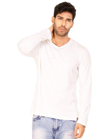 White Color Cotton Mens T-Shirt - HTTS1050