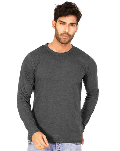 Charcoal Melange Color Cotton Mens T-Shirt - HTTS1052