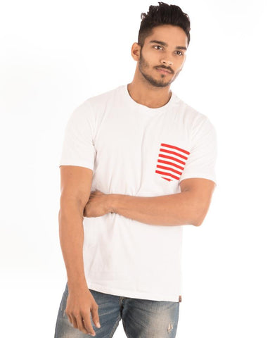 White Color Cotton Mens T-Shirt - HTTS1055