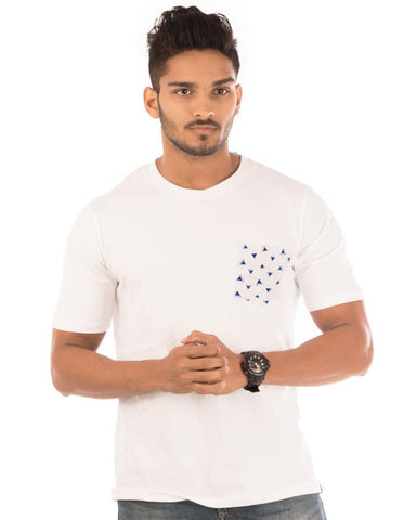 White Color Cotton Mens T-Shirt - HTTS1056