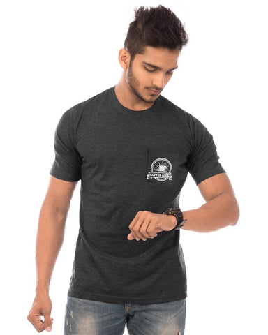 Charcoal Melange Color Cotton Mens T-Shirt - HTTS1058