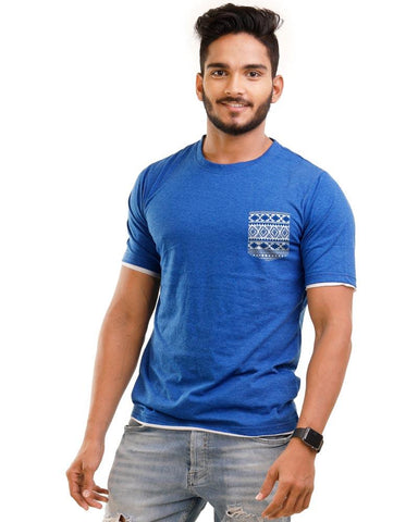 RoyalBlue Color Cotton Mens T-Shirt - HTTS1059