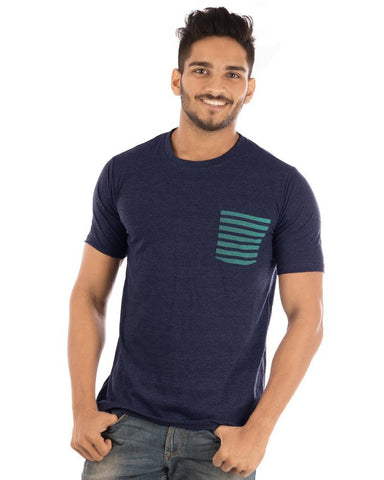 NavyBlue Color Cotton Mens T-Shirt - HTTS1060