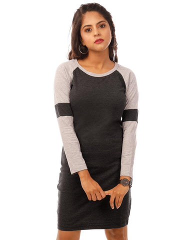 Light Grey Color Cotton Womens Dress - HTTS1084