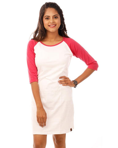 Pink Color Cotton Womens Dress - HTTS1089