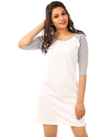 LightGrey Color Cotton Womens Dress - HTTS1090