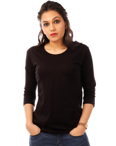 JetBlack Color Cotton Womens T-Shirt - HTTS1093