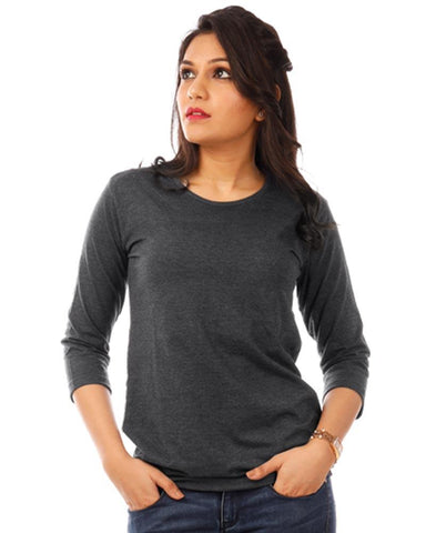 Charcoal Color Cotton Womens T-Shirt - HTTS1094