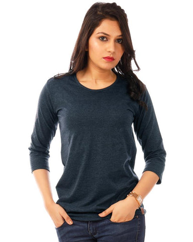 NavyBlue Color Cotton Womens T-Shirt - HTTS1095