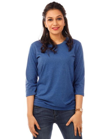 RoyalBlue Color Cotton Womens T-Shirt - HTTS1096