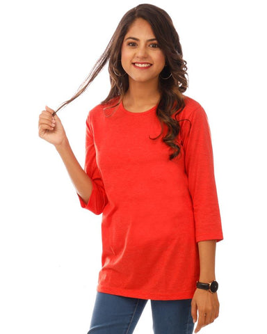 Orange Color Cotton Womens T-Shirt - HTTS1097