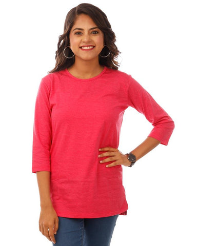 Pink Color Cotton Womens T-Shirt - HTTS1098