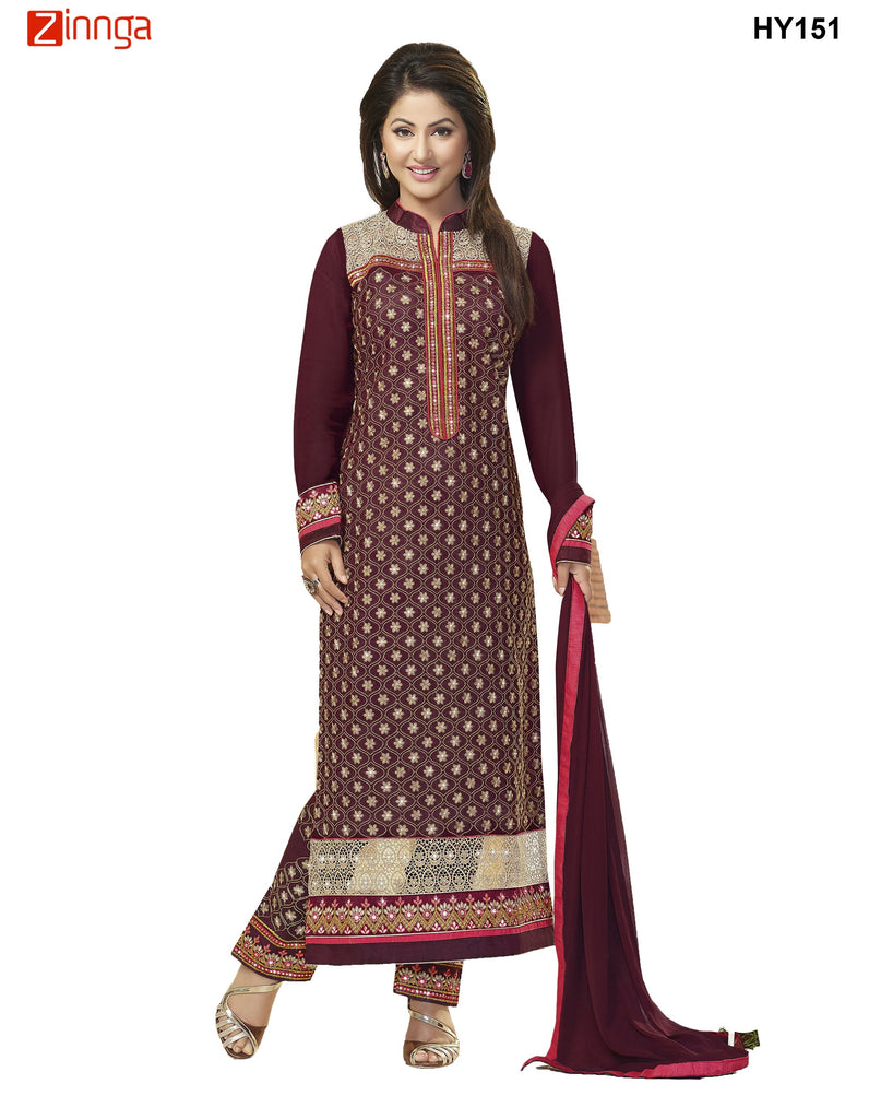 Maroon Color Georgette Semistitched Salwar