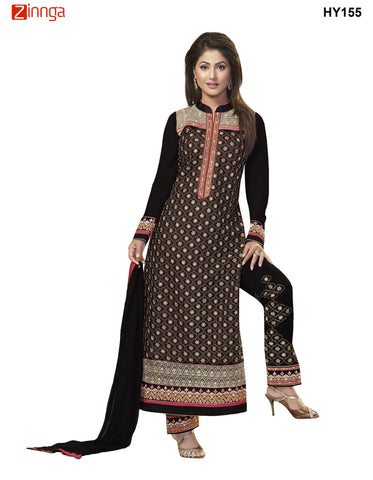 Black Color Georgette Semistitched Salwar - HY155