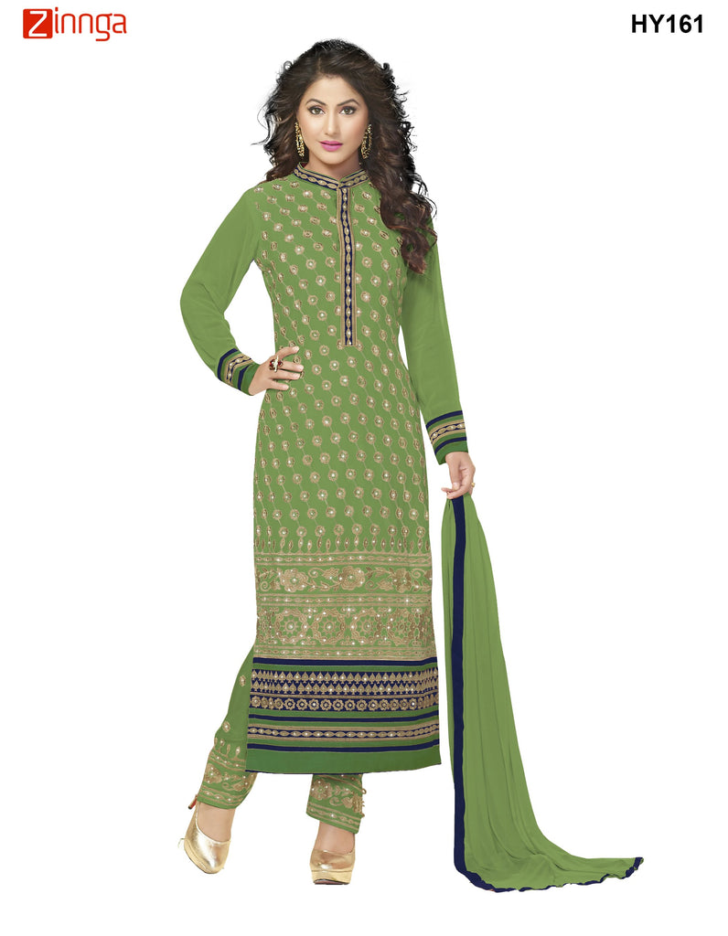 Green Color Georgette Semistitched Salwar