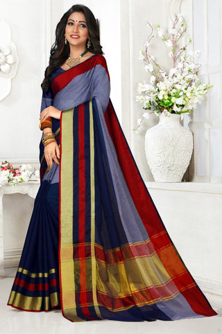 Multi Color Cotton Kota Doria Saree - Half-half-Blue