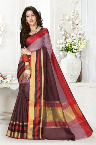 Multi Color Cotton Kota Doria Saree - Half-half-Brown