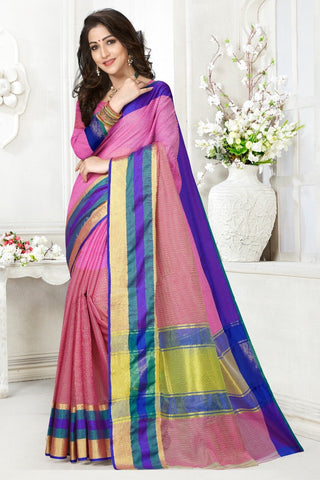 Multi Color Cotton Kota Doria Saree - Half-half-Dark gajari Mazenta pata