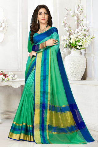 Multi Color Cotton Kota Doria Saree - Half-half-Light rama Blue pata