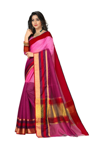 Multi Color Cotton Kota Doria Saree - Half-half-Mazenta peach