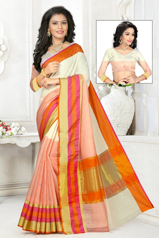 Multi Color Cotton Kota Doria Saree - Half-half-Peach White