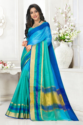 Multi Color Cotton Kota Doria Saree - Half-half-Skyblue