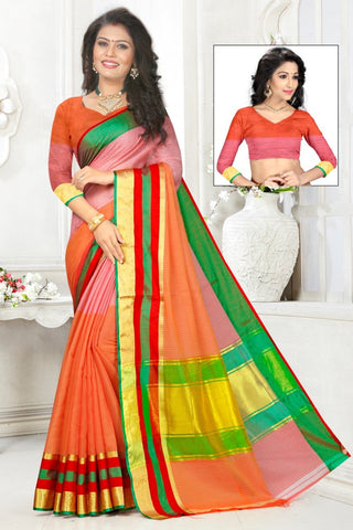 Multi Color Cotton Kota Doria Saree - Half-half-dark orange-red pata