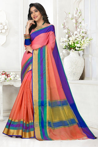 Multi Color Cotton Kota Doria Saree - Half-half-gajari mazenta pata