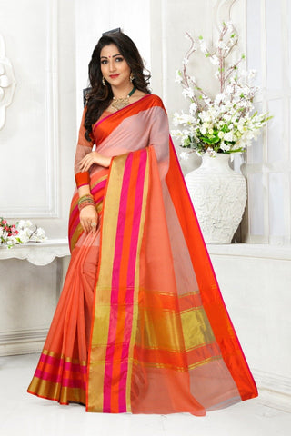 Multi Color Cotton Kota Doria Saree - Half-half-gajari pink pata