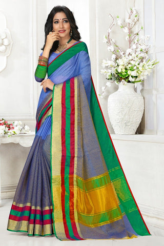 Multi Color Cotton Kota Doria Saree - Half-half-grap SkyBlue