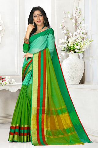 Multi Color Cotton Kota Doria Saree - Half-half-green