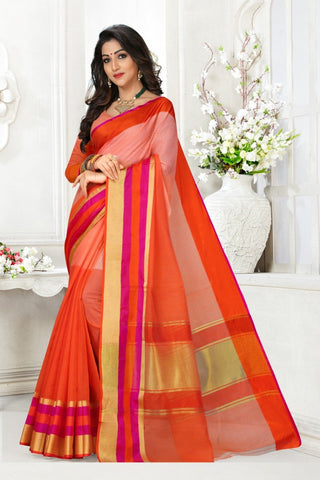 Multi Color Cotton Kota Doria Saree - Half-half-light orange mazenta pata