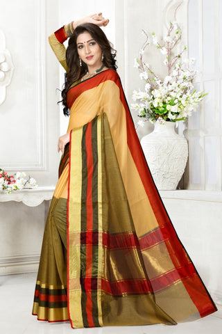 Multi Color Cotton Kota Doria Saree - Half-half-mahendi-peach