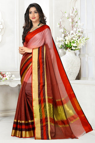 Multi Color Cotton Kota Doria Saree - Half-half-marron