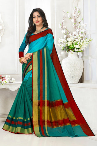 Multi Color Cotton Kota Doria Saree - Half-half-rama red pata
