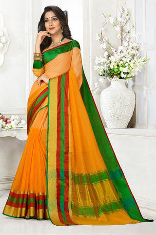 Multi Color Cotton Kota Doria Saree - Half-half-yellow Green pata