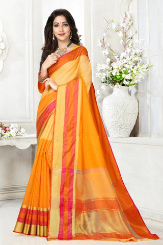 Multi Color Cotton Kota Doria Saree - Half-half-yellw-peach