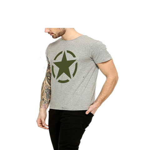 Grey Color Cotton Mens Tshirt - Halfgrey-639