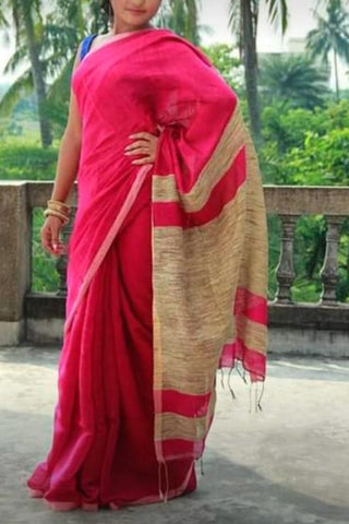 Pink Color Handloom Cotton with Ghicha Saree - Hillmart002