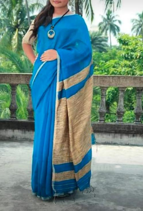 Buy Sky Blue Color Handloom Cotton with Ghicha Saree