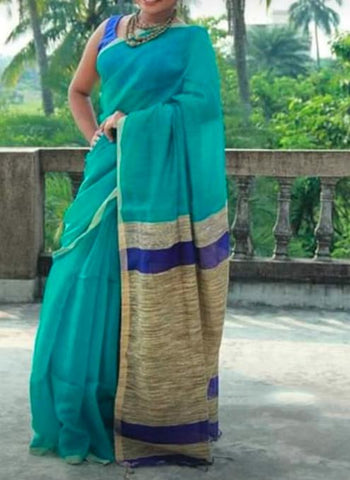 Aqua Color Handloom Cotton with Ghicha Saree - Hillmart004