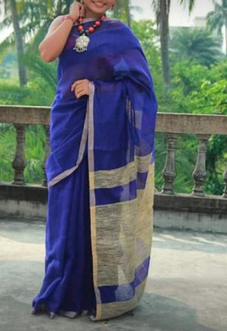 Navy Blue Color Handloom Cotton with Ghicha Saree - Hillmart005