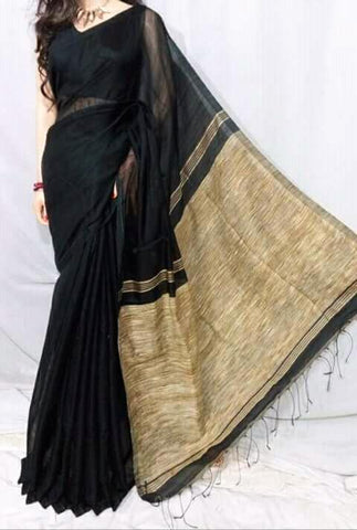 Black Color Handloom Cotton with Ghicha Saree - Hillmart006