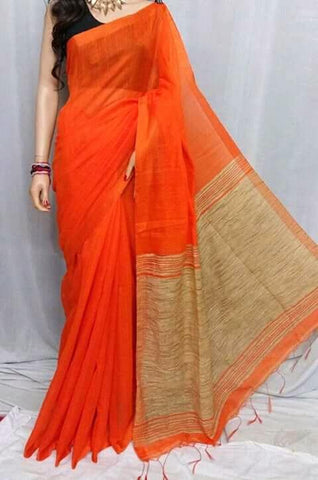 Orange Color Handloom Cotton with Ghicha Saree - Hillmart007