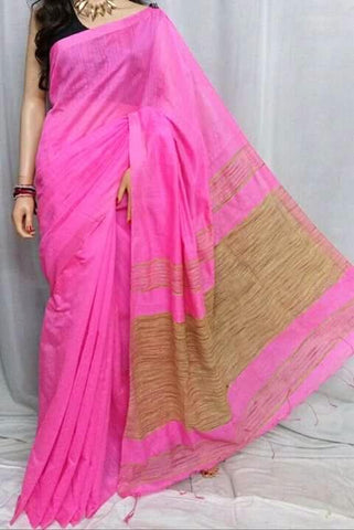 Pink Color Handloom Cotton with Ghicha Saree - Hillmart008