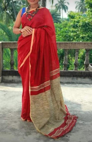 Red Color Handloom Cotton with Ghicha Saree - Hillmart009