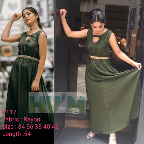 Mehandi Color Heavy Rayon Stitched Dress - Hvm-117