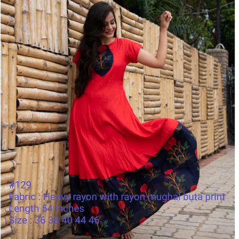 Red Color Heavy Rayon Stitched Dress - Hvm-129