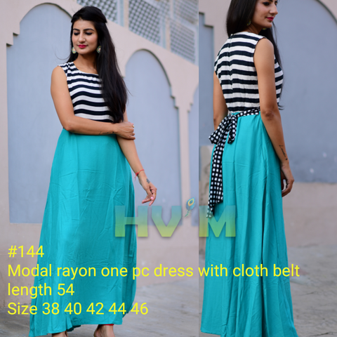 Sky Blue Color Heavy Rayon Stitched Dress - Hvm-144