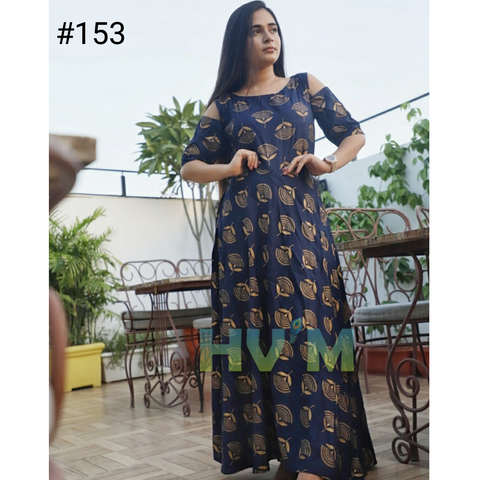Navy Blue Color Heavy Rayon Stitched Dress - Hvm-153